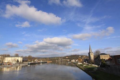 La Meuse River, Givet - France.