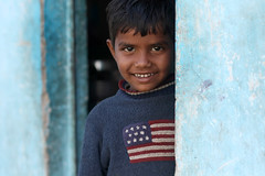 Stars & Stripes (Meanest Indian) Tags: people india children americanflag gujarat ahmedabad