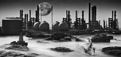 Fantasy of teesside (WWW.KANEYOUNGPHOTOGRAPHY.COM) Tags: uk light england bw moon lighthouse white house black canon mono rocks industrial mark cleveland north young luna east fantasy ii mk2 5d kane teesside 2010 greyscale mkii hartlepool 5d2 5dii
