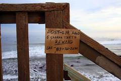 Shark Advt. (Dill Pixels (THE ORIGINAL)) Tags: ocean wood beach sign stairs handwriting coast break montereybay surfing cardboard railing sharkteeth pleasurepoint