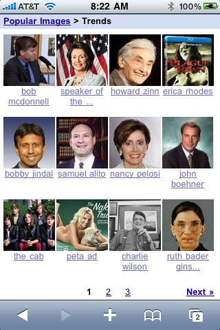 Popular Images on Google Mobile