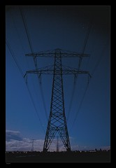 Powerline_TheNetherlands (inlinguam) Tags: blue sky cloud black holland lines silhouette night clouds canon dark eos star evening high wire rust long exposure power time nacht steel great wide nederland thenetherlands scene calm structure line sirius orion mk2 5d canon5d blau stern strom silhoutte constellation kabel voltage mkii ster hochspannungsleitung spannung