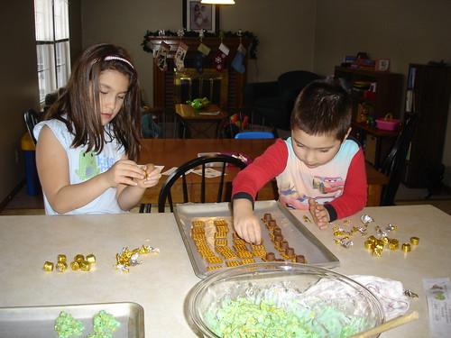 Mason and Corinne making Christmas Treats
