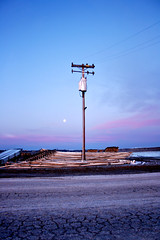 Power Pole. (JesseMari) Tags: california road ca morning pink blue sky food plants moon wire farm pipes salinas moonlight montereycounty agriculture powerpole cracked sinrise cropz