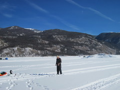 Eric Jigging For Lake Trout West of the Rock (fethers1) Tags: icefishing laketrout lakegranby