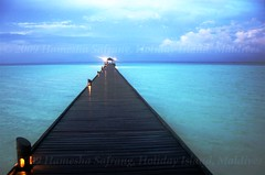 Walkway (From Afghanistan With Love) Tags: world ocean travel blue light sea sky water clouds deep walkway maldives 2009 zeerak safrang hamesha javaid