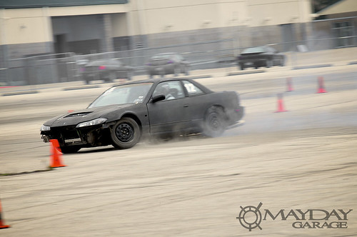A S15 front end S13 coupe sliding a ways.