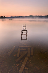 Tranquility (Chee Seong) Tags: uk mist fog canon scotland pier boat nationalpark fishing stirling trossachs lochard canon1740mm singhray 5dm2 varinduo istillnotsurehowtopronoucethenameofthislochp