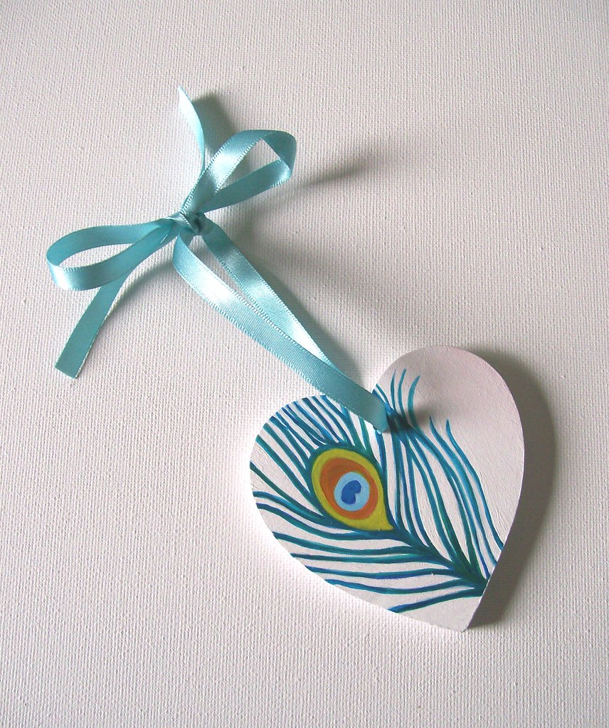 Peacock feather - Hand-Painted Wooden Heart