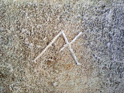 Masons mark of the stone of the cloister wall at Beziers Cathedral