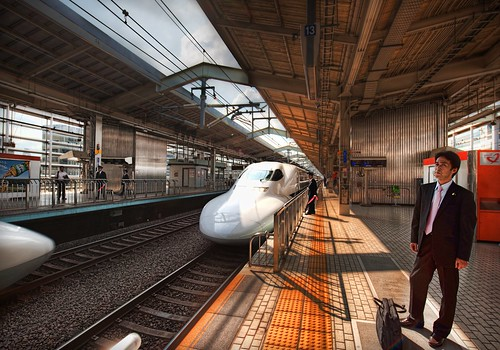 Salaryman waiting on the Bullet Train