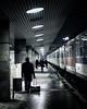 Dark passenger. (next_in_line) Tags: street city travel station night train canon walking 50mm pier waiting noir budapest luggage dexter pulling 400d