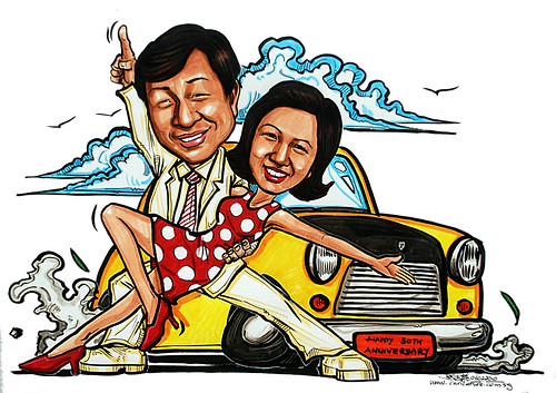 Caricature theme - parents in 1970s