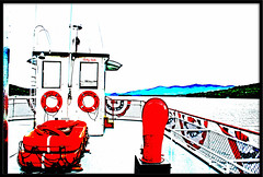A Day On The Lake (Ricky rake) Tags: blue red sky white ny green art water boat distorted lakegeorge wonderfulworldmix