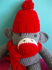 Sock monkry love (Mooy) Tags: red hat scarf monkey diy sock crochet gray knit