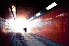 They disappear (96dpi) Tags: light people orange berlin silhouette underpass licht vanishingpoint silhouettes menschen overexposed icc unterfhrung tiltshift internationalescongresscentrum ts17 tse17mm14l