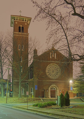 Immaculate Conception Roman Catholic Church, in Maplewood, Missouri, USA - exterior at night