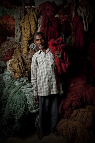 Rug worker portrait