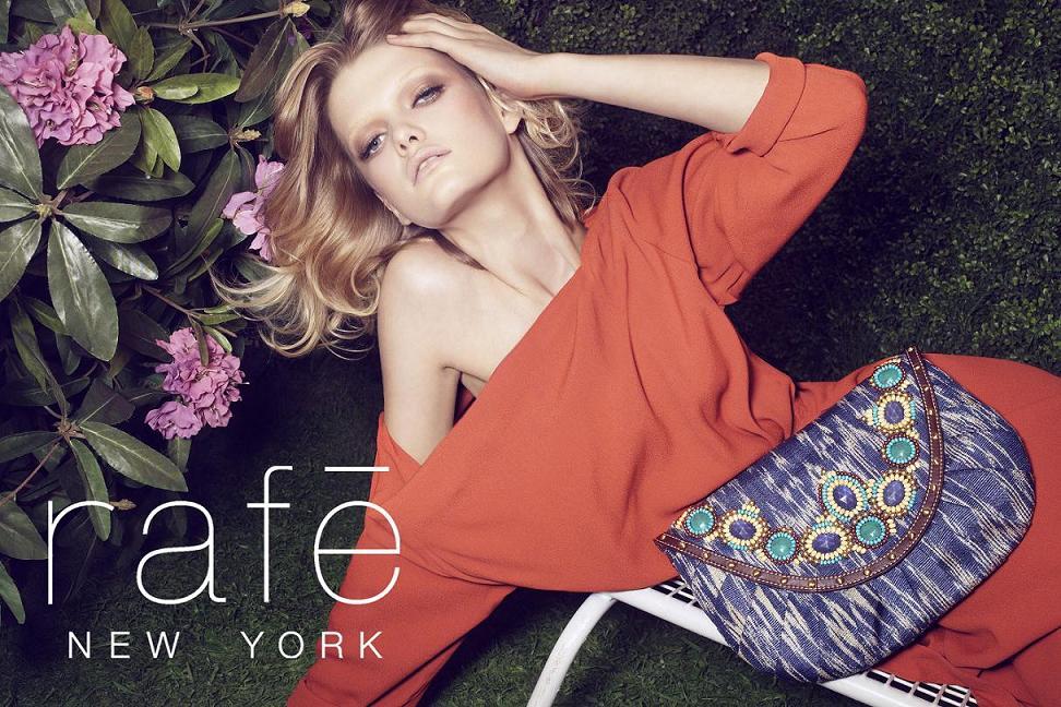 Rafe New York Spring/10 campaign - Salmon Tote w logoIkat Clutch w logo