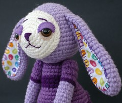 Purple Easter Bunny (AmigurumiPrincess) Tags: bear pink cute rabbit bunny angel easter children toy toys monkey child purple sweet embroidery crafts tail crochet violet lavender craft plush softie lilac toadstool teaching crafty crocheted creature easterbunny easterbasket easterrabbit monello crochetbunny crochetrabbit cottonrabbit angelmonello amigurumiprincess