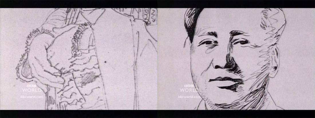 Рисунок Мао Цзедуна справа и деталь рисунка Энгра слева