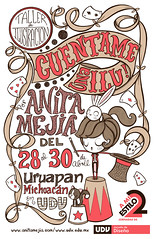 Cartel, Taller en Michoacán (Anita Mejia) Tags: bunny illustration cat cards circo circus conejo workshop taller michoacan conferencia ilustracion cartel frootloops barajas chocolatita anitamejia