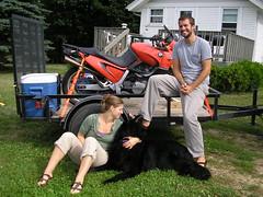 Josh and Emily w Freya at the farm