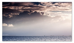 Soft Light ([ Kane ]) Tags: ocean morning light sky sun water clouds photography dawn soft australia brisbane qld queensland rays poles kane canon70200 wellingtonpoint gledhill diffusedlight sigma1020 50d kanegledhill boatlanes kanegledhillphotography