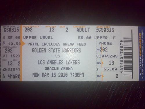 Warriors - Lakers Non possiamo andare a vedere la partita :-(