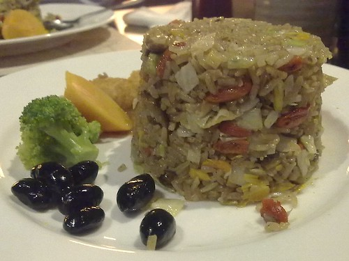Some kind of vegetarian fried rice with truffle oil