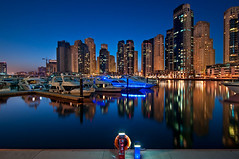 Marina Blues (DanielKHC) Tags: blue light night digital marina reflections boats interestingness high nikon long exposure dubai dynamic 21 uae clear explore hour range fp frontpage dri hdr blending d300 danielcheong holidaysvacanzeurlaub danielkhc tokina1116mmf28 gettyimagesmeandafrica1