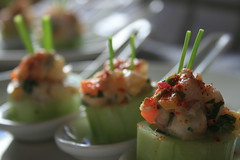 Shrimp Ceviche with Cucumber Cup (davecurry8) Tags: shrimpceviche chinesespoon cucumbercup