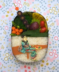 teahouse woman bento (gamene) Tags: cheese blackberry rice tomatoes plum broccoli carrot bento teahouse woodblock nori foodcoloring japansociety purplecarrot takuwan vegetarianham sesameleaf gamene