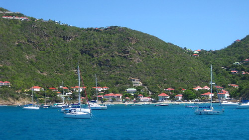 Pulling into St. Barths, passing the village of Corossol.