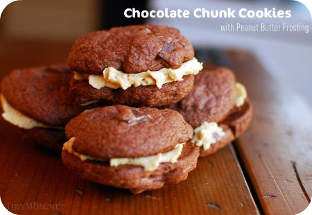 Chocolate Chunk Cookies w/Peanut Butter Frosting
