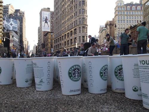 Sturbucks cups on Madison square