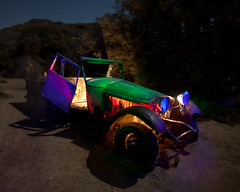 Chitty Chitty Light Paint (Jeffrey Sullivan) Tags: california light copyright usa tree car night painting march photo nationalpark colorful desert joshua joshuatree southern allrightsreserved 2010 jotr jeffsullivan mountainhighworkshops sullivanworkshop