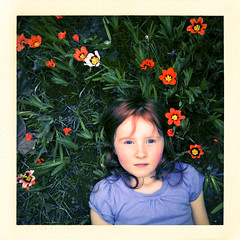 Looking Up (dmacphoto) Tags: cameraphone california flowers girl tallulah vintage square polaroid kid spring child blueeyes daughter retro redhead freckles redhair sweetness 3gs iphone fairoaks fakepolaroid fauxlaroid layinginthegrass danielmacdonald lomob dmacphoto iphoneography danielmacdonaldphotographer dmacphotocom
