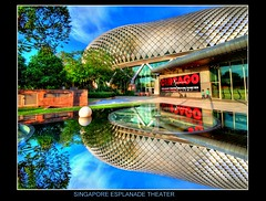 Singapore : Esplanade theater by the bay:REFLECTION OF ART (Kenny Teo (zoompict)) Tags: blue light sky cloud reflection building art tourism water beautiful architecture canon wonderful landscape photo scenery photographer waterfront view dramatic tourist best esplanade getty kenny  stp singaporeesplanade colorphotoaward tourismboard bestphotographer bestscenery wheretovisit zoompict esplanadetheather singaporelowerpiercereservoir