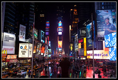 Time Square (Frdric Barbier) Tags: new york city nyc light people usa newyork building night america square place time lumire timesquare nuit personnes ville nord gens immeuble pus advertissement amerique
