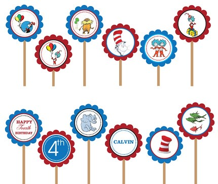 Dr. Seuss Cat in the Hat- Printable DIY Custom Party Circle Cupcake Toppers