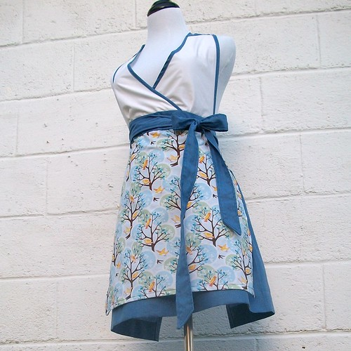 Blue and White and Birds Apron