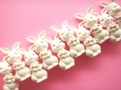 Cute Small White Bunny Smiling Rabbit with Pink Rose Doll Figure