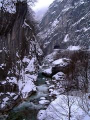 Rugova Gorge (kosova cajun) Tags: road winter snow river landscape tunnel kosova kosovo lum rruga kosov dimr peisazh bistricaepejs rugovagorge grykaerugovs bor rrug