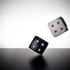 Roll the Dice (Khaled A.K) Tags: red white dice black studio flash roll sa jeddah saudiarabia softbox khaled ksa saudia kashkari