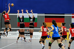 Volleyball EM-Qualifikation Juniorinnen U19 (Robi33) Tags: sport ball schweiz team action basel match volleyball turnier spiel schiedsrichter netz frauen meisterschaft zuschauer bulgarien stjakobshalle emqualifikation juniorinnenu19