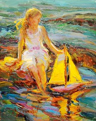 Diane  Leonard  - American artist  - By The Rocks (oldsailro) Tags: ocean park old boy sea summer people sun lake playing beach water pool girl sunshine by youth sailboat race vintage children fun toy boat miniature wooden pond model rocks waves sailing ship child time yacht antique group boom mat diane regatta hull spectators leonard watercraft adolescence keel fashioned