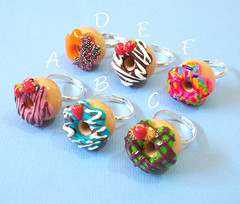 Donut Ring - Just choose your favorite (yifatiii) Tags: birthday party pc strawberry candy sweet chocolate jewelry ring celebration polymerclay fimo sprinkles donut doughnut icing sculpey etsy tls adjustable premo colofrul sugarcandy giftforher yifatiii liquidpolymerclay chooseyourcolor adjustablesilverring