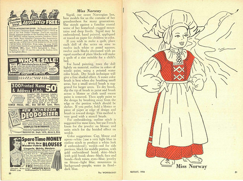 "The Workbasket August 1954 - Miss Norway ""Sigrid"""