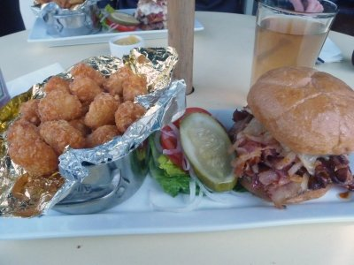 Lunch of Champions - Truffle Burger + Tots  YUM!